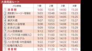 大泉周遊ルート時刻表