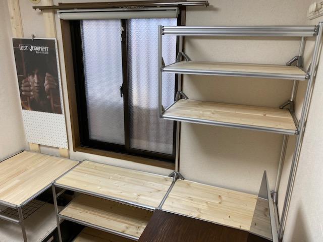 アルミフレームDIY 右側書類棚&机拡張